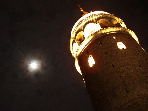 30. Full moon behind Galata tower
